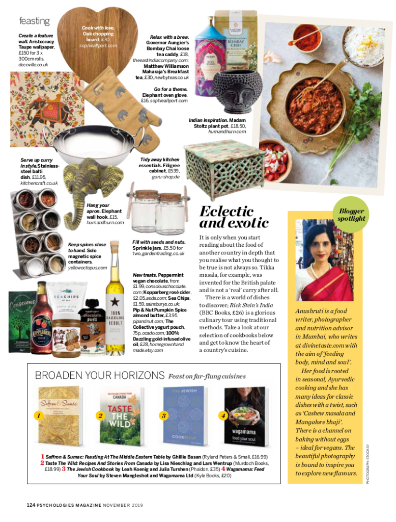 Coverage of Anushruti and Divine Taste in Psychologies Magazine in November 2019