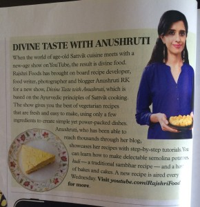 BBC coverage of Rajshri show Divine Taste with Anushrutii