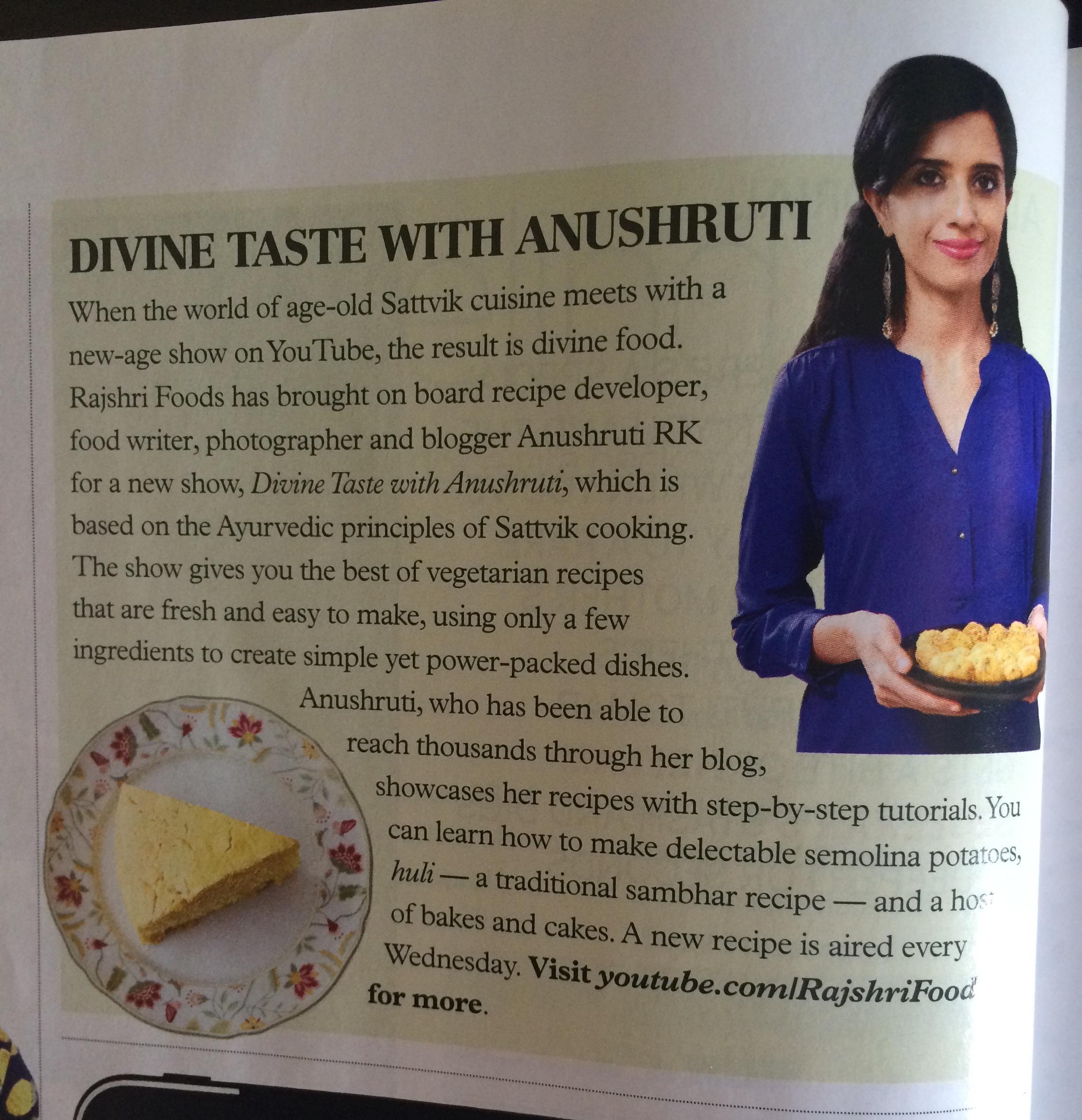 Press media divinetaste bbc coverage of rajshri show divine taste with anushrutii forumfinder Choice Image
